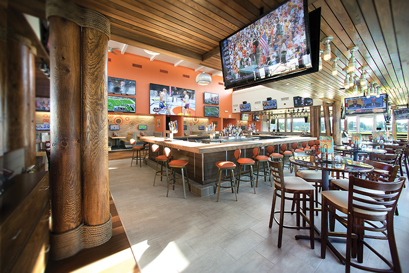 Example of the inside of a Hooters Restaurant