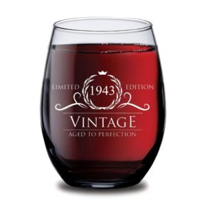 1943 75th Birthday Gifts for Women and Men Wine Glass