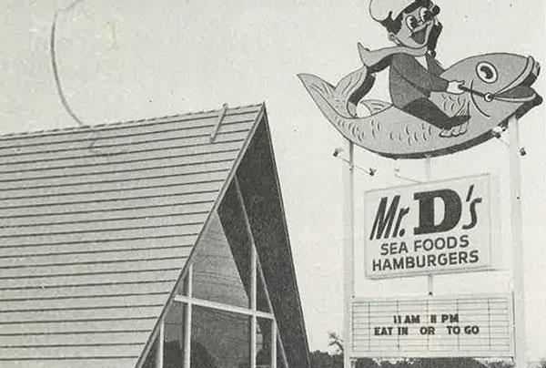 Mr. D's Sea Food and Hamburgers Back of the Menu