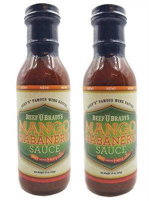 Mango Habanero Sauce – Chicken Wing Sauce – Marinade – Hot – 2 Pack by Beef O Brady's